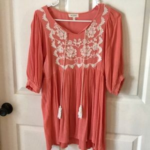 Coral embroidered tunic top. Excellent condition